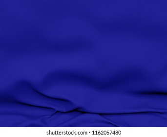 Beautiful Blue Satin Fabric for Drapery Abstract Background. Color Silk Fabric. 3d rendering illustration.