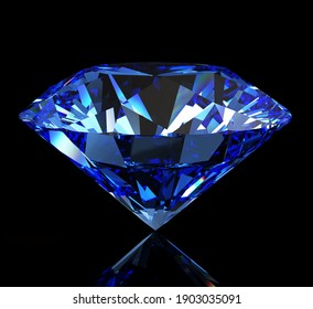 Beautiful blue topaz on a dark background. Isolated with clipping path. 3d illustration