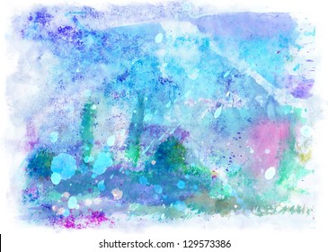 Beautiful Blue-violet watercolor background