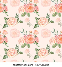 Beautiful blush pink and cream flowers and greenery seamless pattern. Watercolor hand drawn floral ornament on peach pink background. Shabby chic country style. Roses and sage green eucalyptus print.