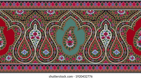 A beautiful border design for apparel design with paisley and fantastic colours.