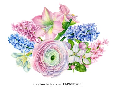 beautiful bouquet of flowers from narcissus,  lily, apple flowers, ranunculus, hyacinth, tulip on an isolated white background, watercolor, hand-drawing, botanical painting