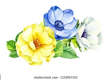 beautiful bouquet of flowers, watercolor, botanical painting, greeting card, anemones, yellow rose