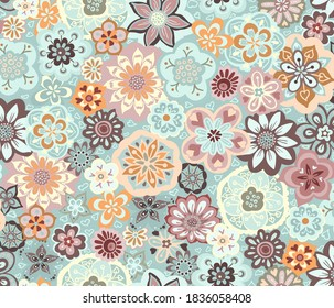 Beautiful bouquet of a tossed mass of abstract flower motifs with a retro vibe
