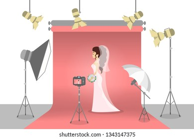 Beautiful bride in the photostudio making photoshoot for memory. Happy woman in white wedding dress with various equipment around such as softbox and camera. Flat  illustration