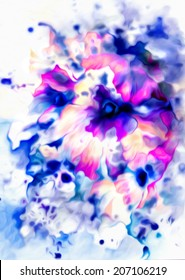 Beautiful bright abstract flowers in blue, pink and purple colors. Watercolor on paper.