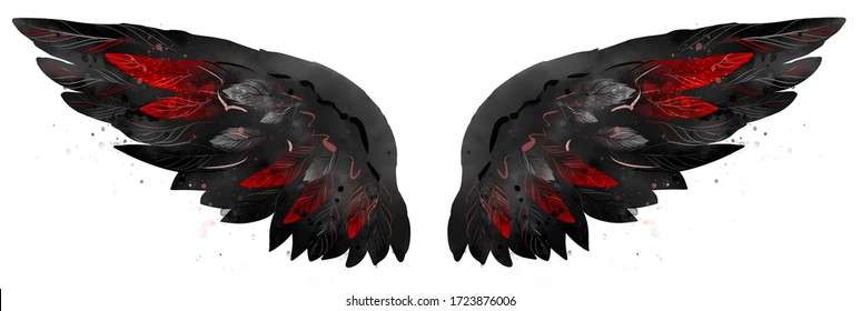 Beautiful bright black wings with red feathers in watercolor style