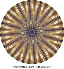 Beautiful bright gold, metallic, black, tan mandala with star burst design. Decorative element, ethnic design, web design, anti-stress therapy, meditation