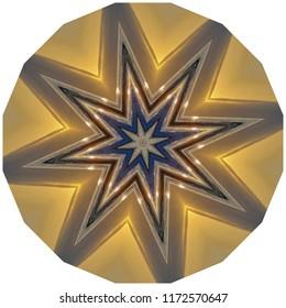 Beautiful bright gold, metallic, black mandala with star burst design. Decorative element, ethnic design, web design, anti-stress therapy, meditation