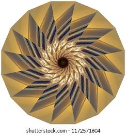 Beautiful bright gold, metallic, black, tan mandala with star burst design. Decorative element, ethnic design, web design, anti-stress therapy, meditation