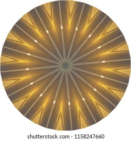 Beautiful bright gold, metallic, yellow, tan mandala with star burst design. Decorative element, ethnic design, web design, anti-stress therapy, meditation