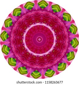 Beautiful bright lime green, pink and red mandala with floral design. Decorative element, ethnic design, web design, anti-stress therapy, meditation.