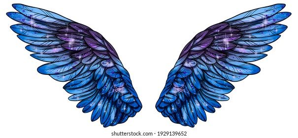 Beautiful bright magic glittery blue violet wings, raster