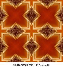 Beautiful bright, orange, yellow, brown geometric pattern. Abstract design, illustration for wallpaper, fabric, print.