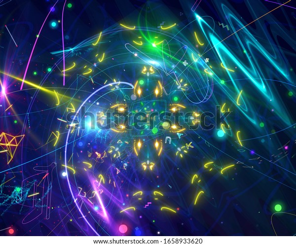 A beautiful bright space digital illustration contains geometric shapes, symbols, rays, stars, planets, shapes, numbers, letters.Neon color digital pattern on a dark background.