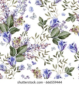 A beautiful bright watercolor pattern with lavender and eustoma flowers. Illustration