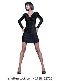 Beautiful brunette woman black short mini dress.Summer clothes collection.Bright makeup.Woman studio photography.Conceptual fashion art.Office business style.Femme fatale.3D Render.