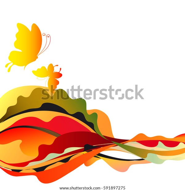beautiful butterflies, yellow and red, on a white