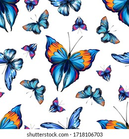 Beautiful butterfly seamless pattern with white background. Tropical, jungle and forest colorful insects in hand drawn digital style. Illustration for fashion, fabric, textile and print