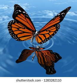 the beautiful butterfly with wings 3D illustration