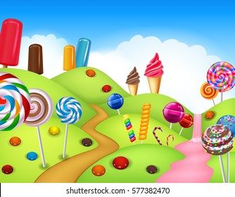 Beautiful candyland with cupcake,ice cream, lollipop and candy cane
