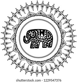 Beautiful card with Elephant Indian with ornaments. Round frame for your text. Hand drawn banner template with ethnic Elephant head. Black contour isolated on white background.