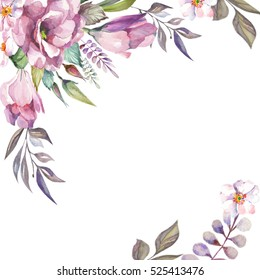 beautiful card with watercolor flowers