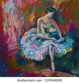 Beautiful cards. Ballerina Painting Acrylic. Artist creative painting background