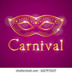 Beautiful Carnival illustration with venetian mask. Purpe pink and gold.