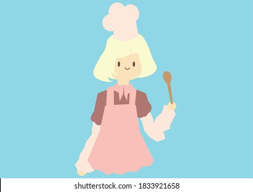 Beautiful Cheif Girl , Cooker Girl With A Pink Dress