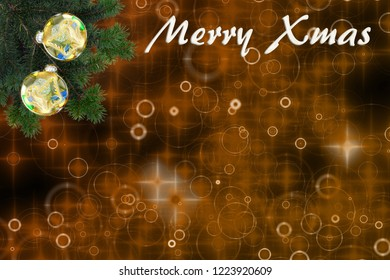 beautiful christmas background with fir branches, christmas balls and text: Merry Xmas, with copy space.illustration