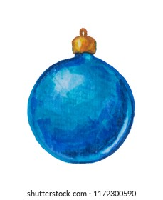 Beautiful Christmas ball toy of blue color drawn by hand with watercolor markers on a white background
