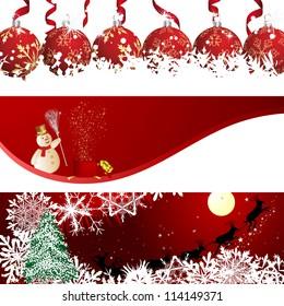 beautiful christmas new year banner set raster version