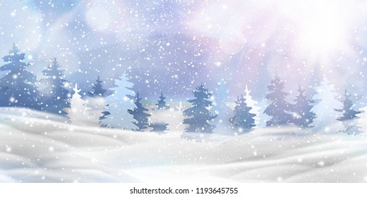 Beautiful christmas, snowy woodland landscape with snow covered firs, coniferous forest, falling snow, snowflakes for winter and new year holidays. Christmas Winter background glitter