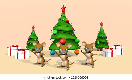 Beautiful Christmas tree and a cute little mouse. 3D rendering