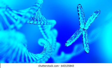 beautiful chromosome on the background of DNA, RNA, 3d rendering