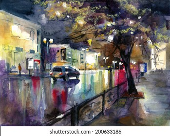 Beautiful cityscape with car and road in rain watercolor painting pencil hand drawn oil acrylic poster