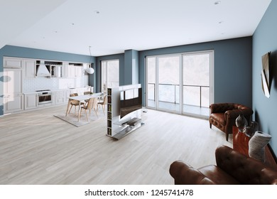 Beautiful Classic Kitchen and Living Room in new Luxury Home with  Hardwood Floors, and Stainless Steel Appliances 3d render