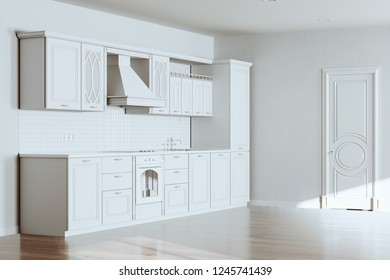 Beautiful Classic Kitchen in new Luxury Home with  Hardwood Floors, White Walls and Vintage Appliances 3d render