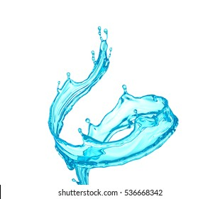Beautiful clear blue water splash isolated on white background. 3d illustration, 3d rendering.