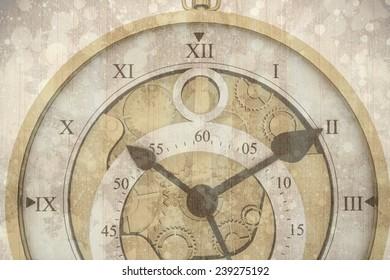 Beautiful clock against paint splattered paper