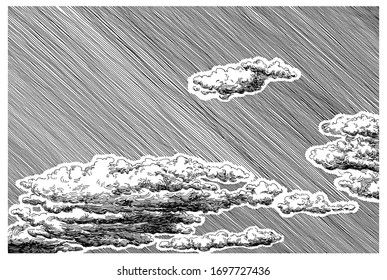 Beautiful clouds in the sky. Decorative dashed hand drawing image. Pen and ink retro classic etching/engraving style illustration.