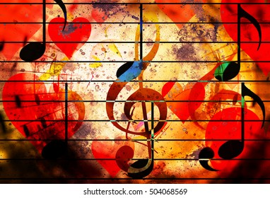 beautiful collage with hearts and music notes and music clefs, symbolizining the love to music.