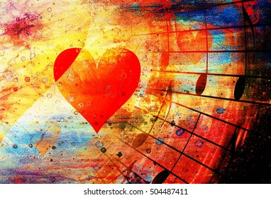 beautiful collage with hearts and music notes, symbolizining the love to music