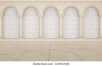 Beautiful Colonnade in classic style.  Colonnade in Greek style. Colonnade with arches. 3D Illustration