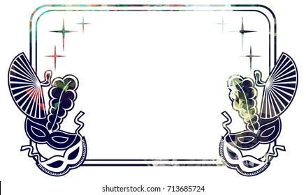 Beautiful color silhouette horizontal frame with carnival masks. Low poly textured. Copy space. Raster clip art.