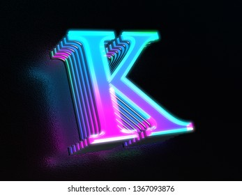 Beautiful colored glass letter K glowing in the dark 3D render