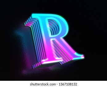 Beautiful colored glass letter R glowing in the dark 3D render