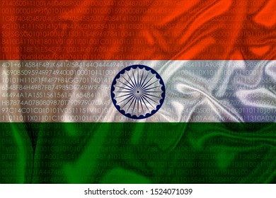 beautiful colored national flag of india state on fabric canvas, burlap, closeup, concept of tourism, economy and politics