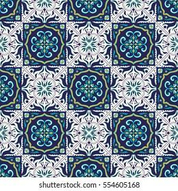 Beautiful colored pattern for design and fashion with decorative elements. Portuguese tiles, Azulejo, Talavera, Moroccan ornaments